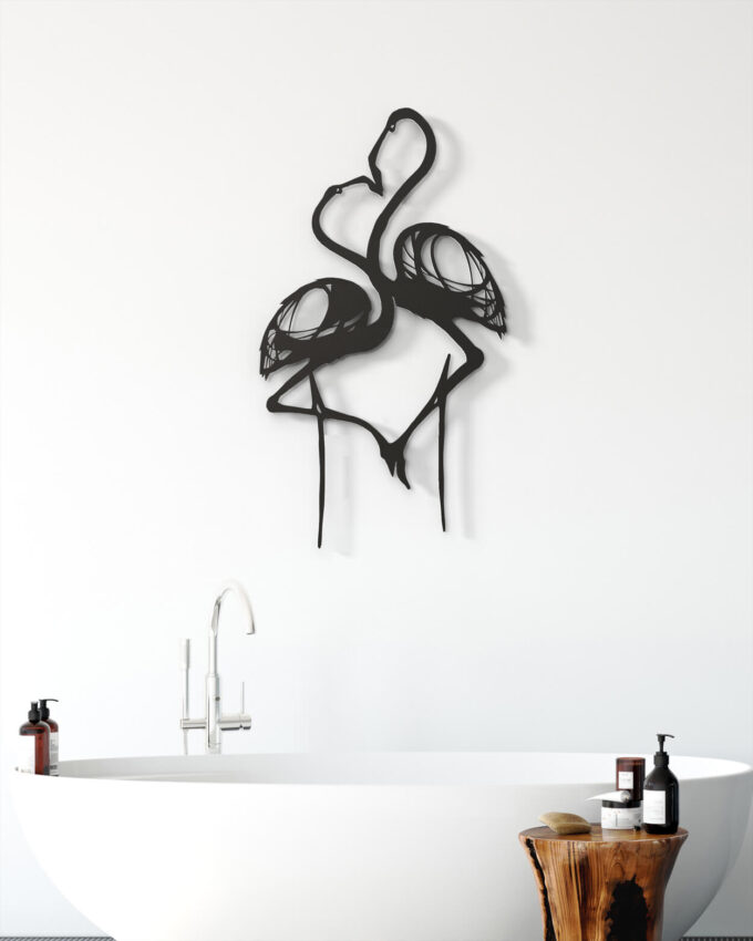 Flamant Rose couple Decoration murale Noir