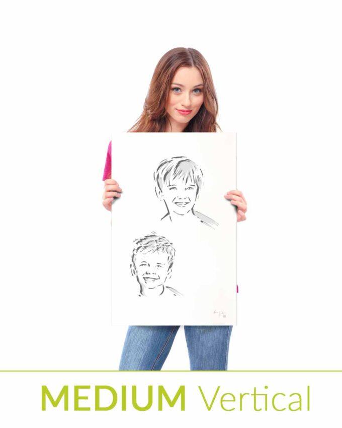 Portrait en mètal personnalisé Medium Vertical