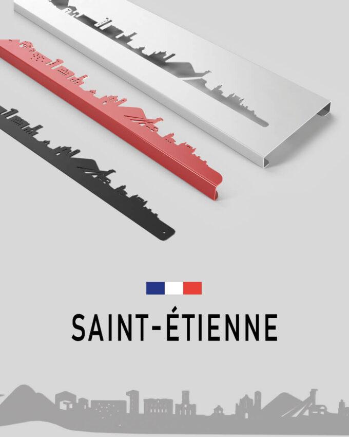 Silhouette en métal de la ville de Saint-Etienne