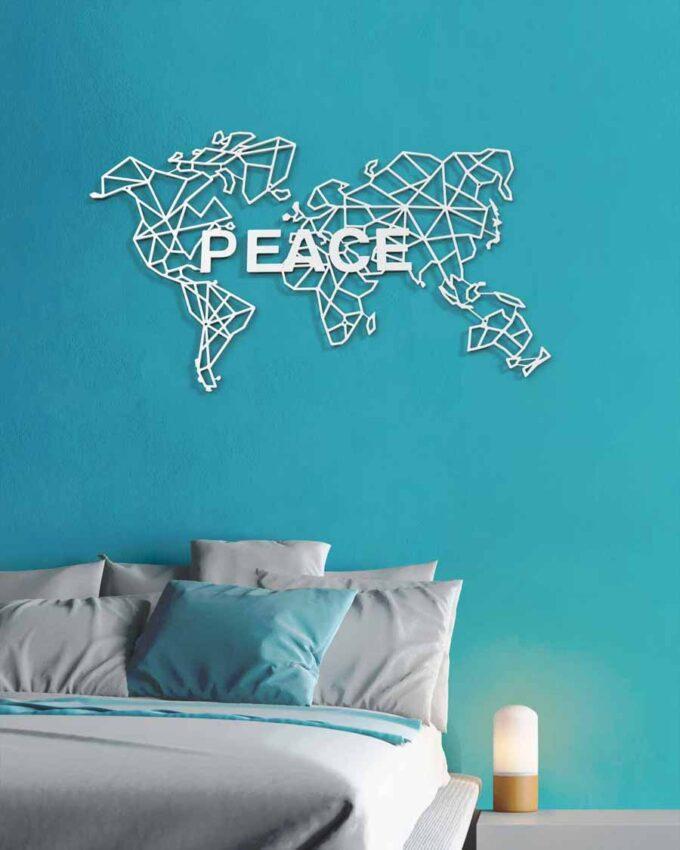 World_Pixel_Blanc_Décoration Murale PEACE