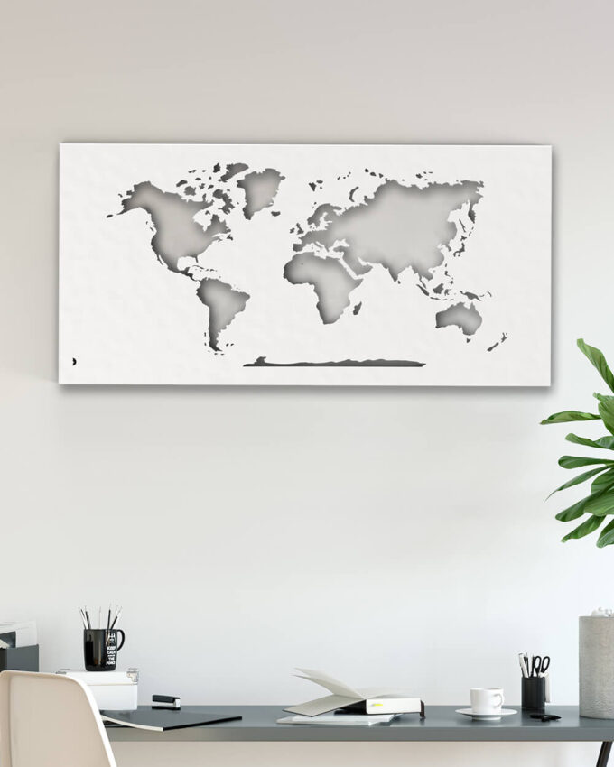 Carte du Monde, planisphère Métal design