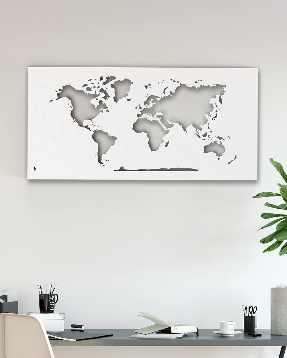 carte du monde planisph re d coration murale en m tal. Black Bedroom Furniture Sets. Home Design Ideas